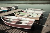 Floating Wooden Boats with Paddles — Stock Photo