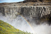 Dettifoss Waterfall in Iceland with rainbow — Stock Photo