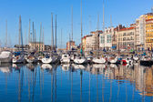 View on Old Port of Gijon and Yachts — Stock Photo