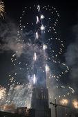 New Year Celebrations Fireworks at Burj Khalifa in Dubai — Stock Photo