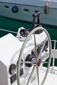 Sailing yacht control wheel and implement — Stock Photo