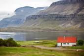 Typical Farm House at Icelandic Fjord Coast — Stock Photo