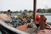 Old fishing boat with nets — Stock Photo