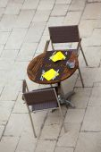 Outdoor summer cafe tables with chairs — Foto de Stock