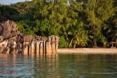 Tropical beach at Curieuse island Seychelles — Stok fotoğraf