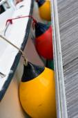 Sailboat Side Fenders CloseUp. Boat protection — Stock Photo