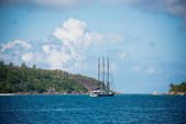 Recreational Yacht at the Seychelles — Stock Photo