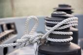 Winch and rope, yacht detail — Stock Photo