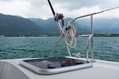 Fishing rod on a yacht — Zdjęcie stockowe