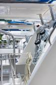 Winches and ropes, sailing yacht detail — Stock Photo