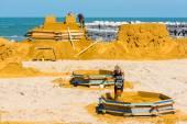 Sand Sculpture Festival preparings — Stock Photo
