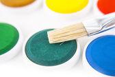 Watercolors and brushe — Stock Photo