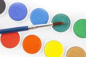 Watercolors and brushe — Stockfoto