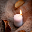 Dry maple leaves and warm candle light — Stock Photo #54875227