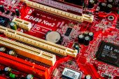 Motherboard, computer electronics — Stock Photo