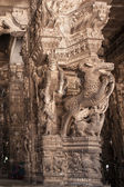 Ancient stone carvings in Varadaraja Temple — Stock Photo