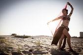 Girl dancing ethnic dances — Stock Photo
