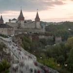 Road leading to the medieval castle. Ukraine, Kamenets-Podolsk — Stock Photo #79416066