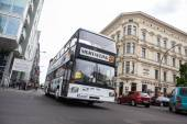 Bus at Checkpoint Charlie. T — Stock Photo