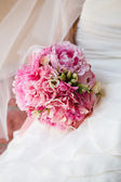 Beautiful wedding bouquet with pink peony — Stock Photo