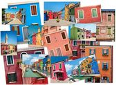 Collage of images of colorful buildings on the island of Burano, Venice — Stock Photo