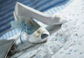 Wedding dresses and accessories — Stock Photo