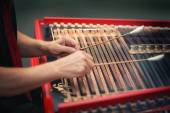 Play the cimbalom — Stock Photo