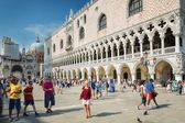 Tourists at St. Mark's Square in Venice, Italy — Stock Photo