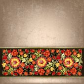 Fondo grunge abstracto con ornamento floral — Vector de stock