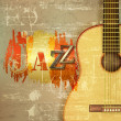 Abstract grunge piano background with acoustic guitar — Stock Vector #66788367
