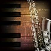 Abstract grunge piano background with saxophone — Stock Vector