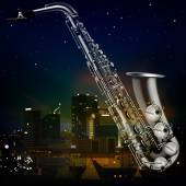 Abstract night background with city and saxophone — Stockvektor