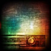 Abstract grunge background with retro radio — Stock Vector