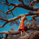 Beautiful lady and mighty tree — Stock Photo #55908723