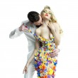 Young man and beautiful lady in flower dress — Stock Photo #56330105