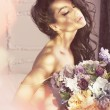 Pretty woman with flowers — ストック写真 #76697467