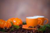 Delicious coffee in orange cups, small  pumpkins and pine boughs — Stock Photo
