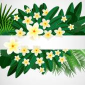 Eps10 Floral design background. Plumeria flowers and tropical le — Vector de stock