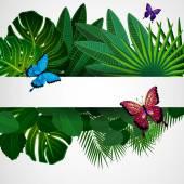 тропические листья с бабочками. цветочный дизайн фона. — Cтоковый вектор