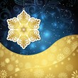 Golden snowflakes and frosty patterns on a dark blue background. — Stock Vector #57533193