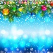 Christmas background with decorated branches of Christmas tree. — Vector de stock  #57533213