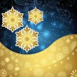Golden snowflakes and frosty patterns on a dark blue background. — Stock Vector #58514143