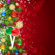 Christmas background with Christmas tree branches decorated with — Stockvector  #58514163
