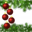 Christmas background with Christmas balls and green branches of — 图库矢量图片 #58929267