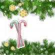 Christmas background with Christmas decor and green branches of — Stockvector  #59580793