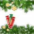 Christmas background with Christmas decor and green branches of — Stockvector  #59580815