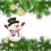 Christmas background with Christmas decor and green branches of  — 图库矢量图片