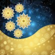 Golden snowflakes and frosty patterns on a dark blue background. — Stock Vector #61994935