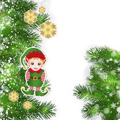 Christmas background with Christmas decor and green branches of  — Stock Vector