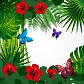 Tropical floral design background with butterflies. — Stock Vector
